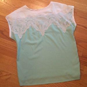 Super cute lace mint top!
